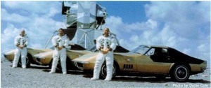 Astronauts with their Corvettes