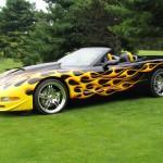 Customized Corvette with flames paint job