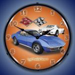 1971 CORVETTE LIGHTED WALL CLOCK (BLUE/WHITE)