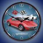 1971 CORVETTE LIGHTED WALL CLOCK (RED/WHITE)