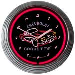 CORVETTE NEON WALL CLOCK (1960 CORVETTE-RED NEON)