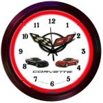 CORVETTE NEON WALL CLOCK (C5 CORVETTE-RED NEON)