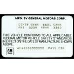 75-76 VEHICLE CERTIFICATION LABEL (SPECIAL ORDER)