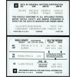 81-82 VEHICLE CERTIFICATION LABEL (SPECIAL ORDER)