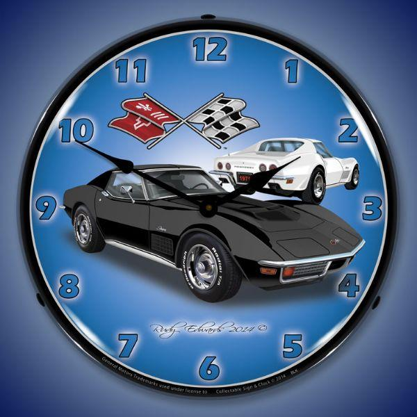 1971 CORVETTE LIGHTED WALL CLOCK (BLACK/WHITE)
