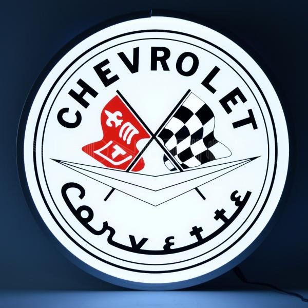 CORVETTE FLAGS (BACKLIT ROUND SIGN)
