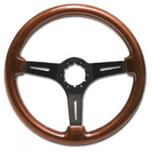 63-82 SPORT STEERING WHEEL MAHOGANY W/BLACK SPOKES