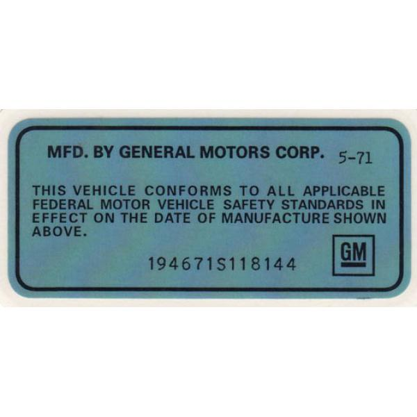 71 VEHICLE CERTIFICATION LABEL (SPECIAL ORDER)