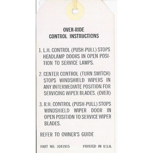 68 WIPER OVER-RIDE INSTRUCTIONS