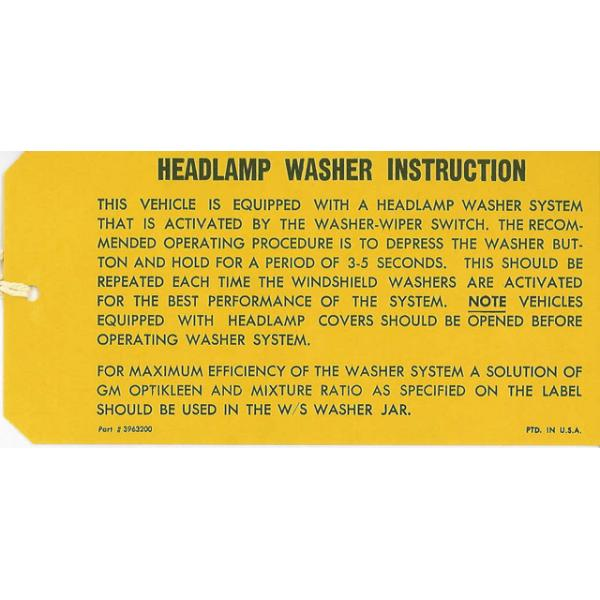 69-70 HEADLIGHT WASHER INSTRUCTION HANG TAG